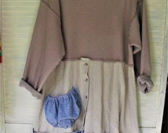 XL Dress/ Mixed Fabric Frock/ Inside Out Sweatshirt, Linen Skirt/ Women's Upstyled Clothing/ Bohemian Funkiness/ Sheerfab Handmade
