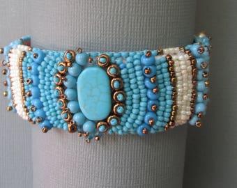 Turquoise cuff turquoise bracelet bead embroidered cuff southwestern bracelet turquoise gemstone bracelet