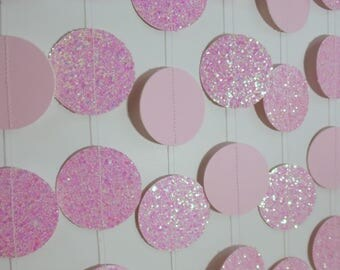 Light Pink Glitter Circle Garland, Paper Dot Garland, Baby Shower Decoration, Bridal Shower Decor