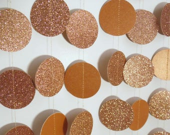 Copper Glitter Circle Garland, Fall Party Decoration, Bridal Shower Decor, Photo Prop, 8' Paper Garland