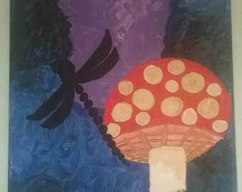 Magical Mushroom and Dragonfly