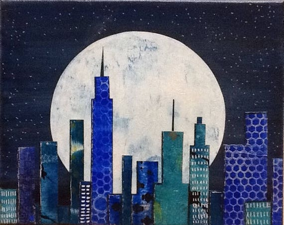 SALE Original Mixed Media Cityscape Nighttime Painting Wall Art Wall Decor Blue Small Wall Art