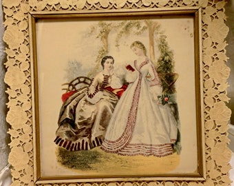 Vintage Plastilace Framed Mid 1800s Civil War Picture Lithograph Fashion Plate of Southern Belles Relaxing Outdoors. Might Be Hand Colored.
