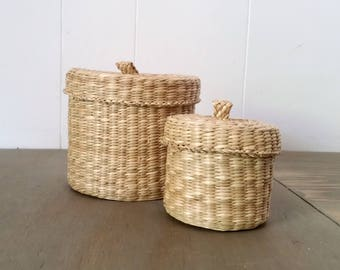 Vintage Woven Sea Grass Baskets, Nesting Baskets for Home Storage