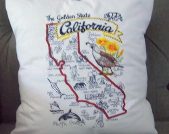 Embroidered State Map Pillow California