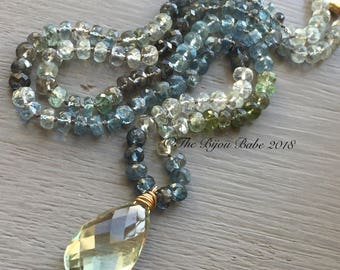 Moss aquamarine Necklace hand knotted silk necklace