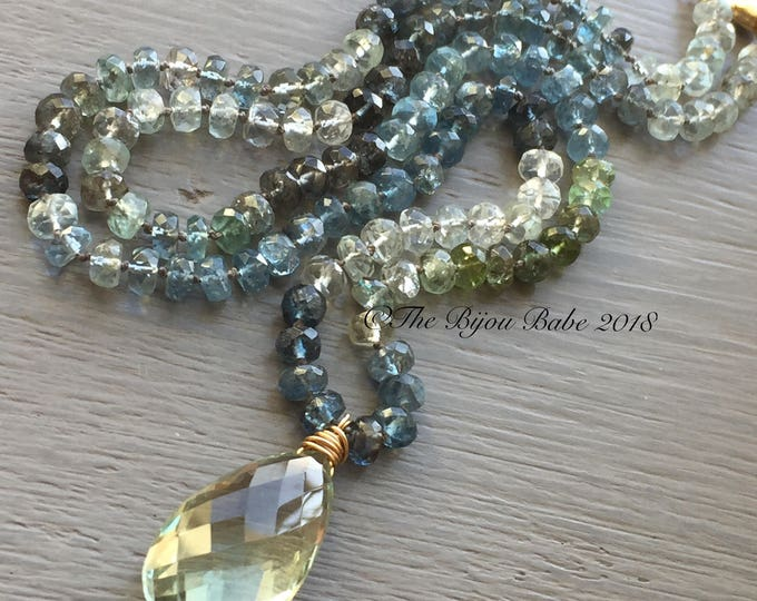 Featured listing image: Moss aquamarine Necklace hand knotted silk necklace