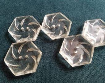 Vintage Buttons - 5 large geometric swirl design cut glass Depression glass (lot july 198 17)