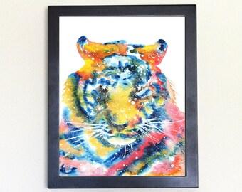 Tiger Face Spirit Animal Art Print Watercolor 8x10