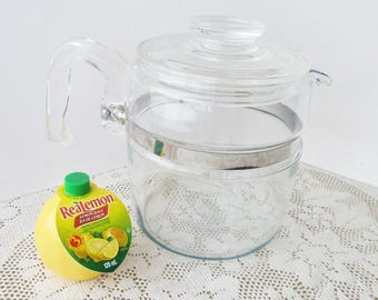 Pyrex Coffee Pot 6 cup, 7756 Glass Percolator Pot and Lid Only