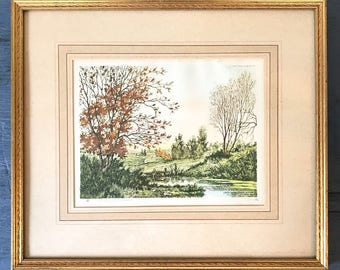 vintage watercolor etching - framed hand pulled print - The Reservoir - Paris Etching Society