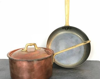 vintage copper pot with brass handle - copper saucepan with lid - copper skillet - Cobre - french farmhouse kitchen