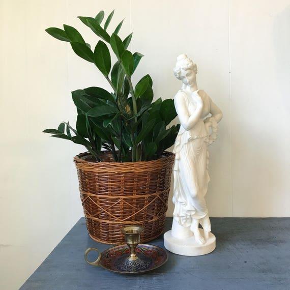 vintage alabaster sculpture - Greek goddess statue - classical art - white female figurine