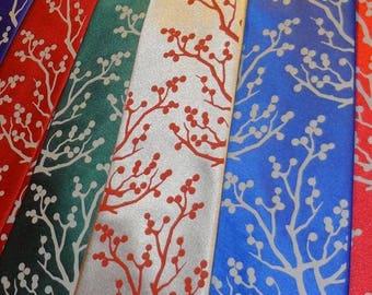 RokGear Winter Berries print - Men necktie print to order custom colors