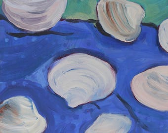 Clams II, Dots -  original fine art, wall decor, nautical decor, acrylic painting on panel - Irene Stapleford - wantknot shop