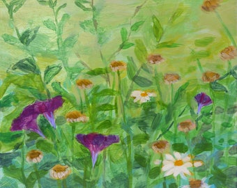 original acrylic painting medium size - Morning Glories and Daisies on Pale Green - Irene Stapleford - wantknot shop