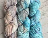 Fade Set of 3- Southern Quahog Chesapeake Blue Crab Sea Salt Speckled Hand Dyed Yarn // Sock Fingering Weight Yarn // Superwash Sock Skein
