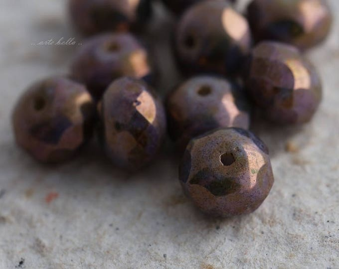 GILDED PLUMBERRY .. 10 Premium Czech Picasso Rondelle Glass Beads 6x9mm (5825-10)