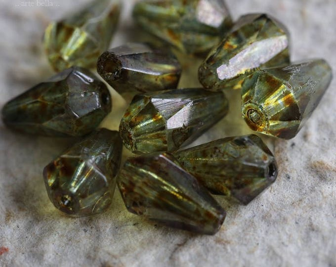 FACETED PINE DRIPS .. New 10 Premium Czech Glass Drop Beads 8x12mm (5971-10)