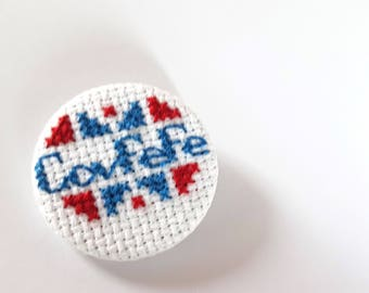 Covfefe Cross stitch pin badge -Donald trump-meme-political-POTUs-451h-usa-twitter-confused-murica-pin game-pinback-pingame strong-tweets