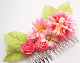 Creepy Baby Floral Hair Comb-Baby Shower-Gag Gift-Kitsch Style-Ugly Fashion-Strange Accessory-Why?-Gifts for People You Hate-White Elephant