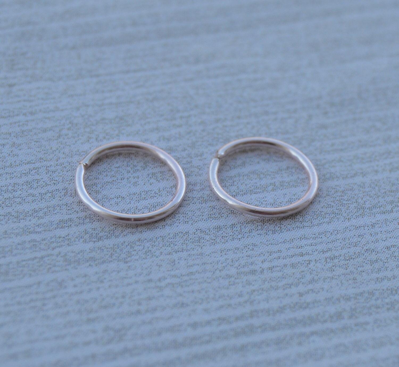 Pink Rose Gold Nose Ring - 22 Gauge Nose Hoop Gold Wire Pierced Loop ...