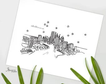 Baltimore, Maryland - United States - Instant Download Printable Art - City Skyline Series