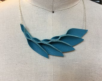 Green turquoise Leather Petals necklace