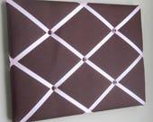 "11""x14"" Memory Board, Memo Board, Vision Board, Photo Display, Business Card Holder,  Pin Board, Brown & Light Pink"