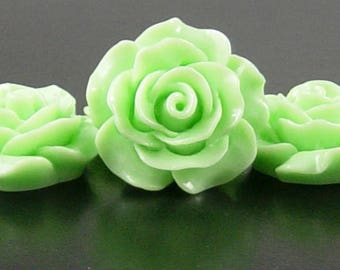 Cabochon Resin Flower 4 Resin Round Rose Flower Green 20mm x 9mm (1019cab20m4-7)