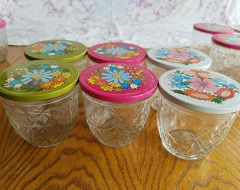 Set of Six (6) Vintage Quilted Ball Jelly Lidded Jars, Metal Flower Power Lids