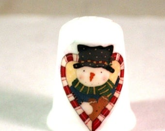 Collectible Thimbles, China Thimble, Handmade Thimble, Thimble Collection, Christmas Thimble, Snowman Thimble