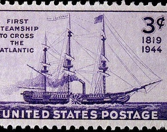 Ten (10) vintage unused postage stamps - First steamship to cross the Atlantic // 3 cent stamps