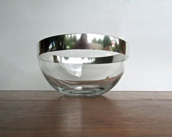 Large Dorthy Thorpe Bowl w/ Original Label, Sterling Silver Enhanced Glass Bowl Perfect for Salad Presentation