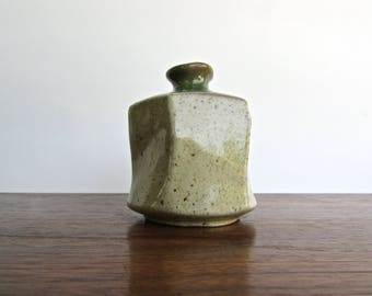 Hiroyama Kiln Stoneware Weed Pot w/ Celadon & Green Glass-Glazes, Lovely Speckling and Crackling, Japanese Studio Pottery
