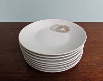 Sunburst Raymond Loewy Large Porcelain Bread & Butter Plates, Rosenthal Continental Form 2000, Set of 7, Rosenthal Germany