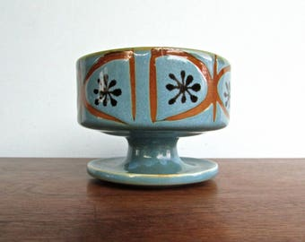 Groovy MCM Handmade Ceramic Pedestal Compote Dish with Atomic Design in Blue & Orange