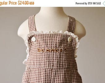 ON SALE 1940s Chocolate Giraffe Overalls >>> Size 18 Months