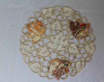 Round Doily or Placemat with Fall Orange Maple Leaves on Ivory Material Various Sizes