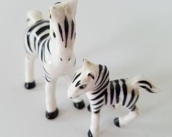 Vintage Miniature Porcelain Zebras Set of 2