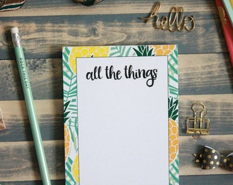 Summer Pineapple All the Things Notepad   Tropical Memo Pad Shopping Note Pad   Gift for Her   Summer List   Teacher Gift   Stocking Stuffer