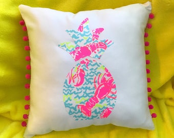New Made To Order custom Pineapple Pillow made with Lilly Pulitzer Lobstah Roll fabric