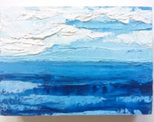 CUSTOM ORDER:  abstract beach painting, abstract oil painting, blue sky, cloud painting, blue ocean