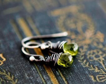 Summer Sale Peridot Earrings, Drop Earrings, Wire Wrapped, Sterling Silver, August Birthstone, Lime Green, Dangle Earrings, Peridot Jewelry,