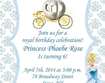 Girls Cinderella Princess Printable Birthday Party Invitation Digital Print