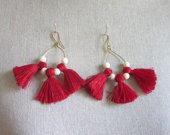 Red and White Tassel Hoop Earrings