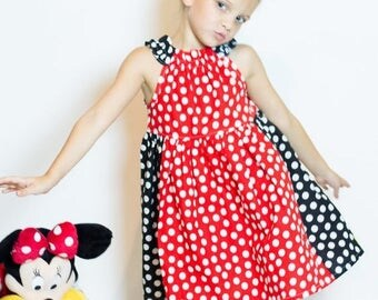 ON SALE Miss Mouse Red Polka Dot Dress - Red and Black Polka Dot Dress