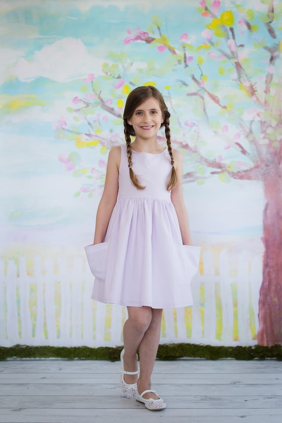 Girls Lavender Easter Dress - Lavender and Lace Dress  - Full Skirt with Pockets  - Girls Easter Dress