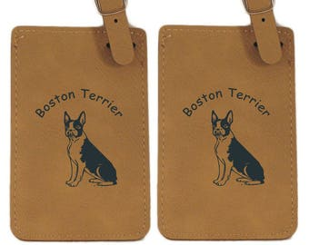 Boston Terrier Sitting Luggage Tag 2 Pack L1922
