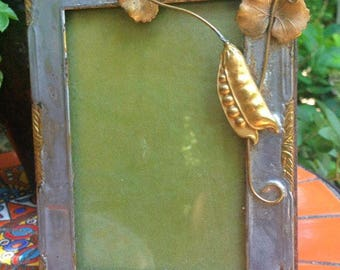 Grasshopper and Peapod Brass and Pewter Handmade 3D Picture Frame